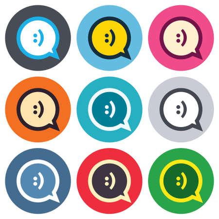 Chat sign icon. Speech bubble with smile symbol. Communication chat bubbles. Colored round buttons. Flat design circle icons set. Vector Vector