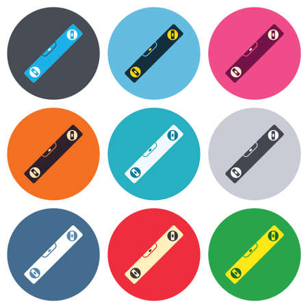 bubble level: Bubble level sign icon. Spirit tool symbol. Colored round buttons. Flat design circle icons set. Vector