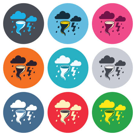 gale: Storm bad weather sign icon. Clouds with thunderstorm. Gale hurricane symbol. Destruction and disaster from wind. Insurance symbol. Colored round buttons. Flat design circle icons set. Vector Illustration