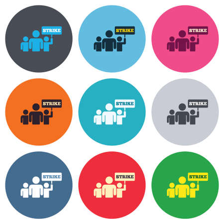 social actions: Strike sign icon. Group of people symbol. Industrial action. People holding protest banner. Colored round buttons. Flat design circle icons set. Vector Illustration