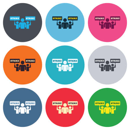 Strike sign icon. Group of people symbol. Industrial action. People holding protest banner. Colored round buttons. Flat design circle icons set. Vector Illustration