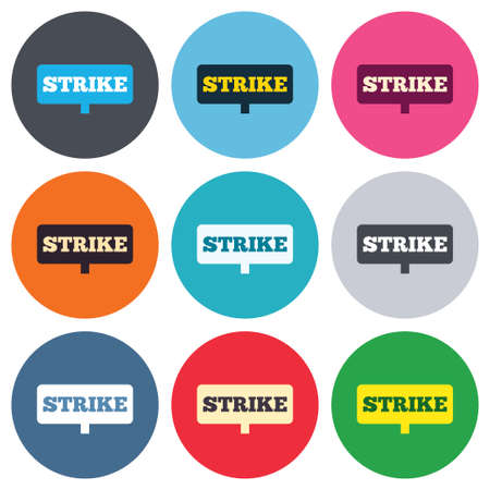activists: Strike sign icon. Protest banner symbol. Colored round buttons. Flat design circle icons set. Vector Illustration
