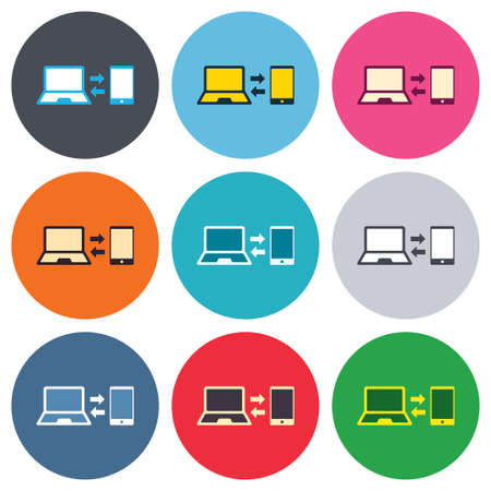 data synchronization: Synchronization sign icon. Notebook with smartphone sync symbol. Data exchange. Colored round buttons. Flat design circle icons set. Vector