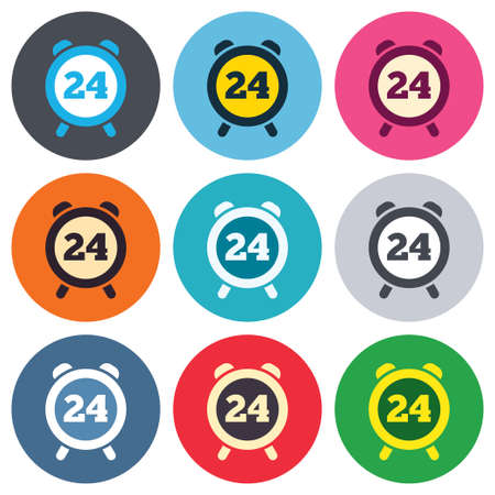 24 hours time sign icon. Clock alarm symbol. Customer support service. Colored round buttons. Flat design circle icons set. Vector Vector