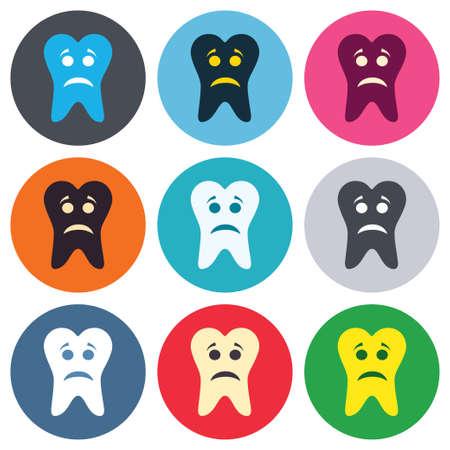 unhealthy: Diente icono de signo cara triste. S�mbolo Aching diente. Dientes saludables. Botones de colores redondas. Iconos dise�o c�rculo plano establecen. Vector Vectores
