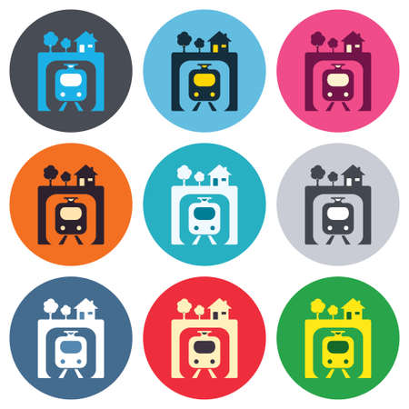 underground: Underground sign icon. Metro train symbol. Colored round buttons. Flat design circle icons set. Vector