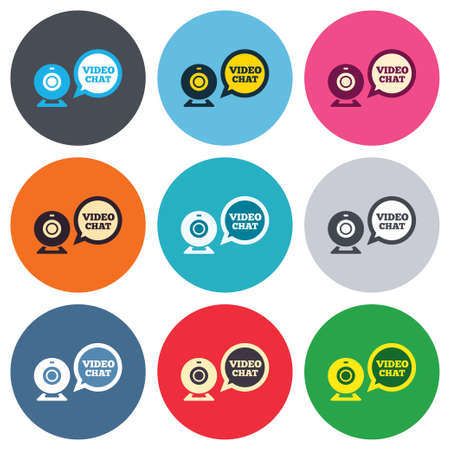 Video chat sign icon. Webcam video speech bubble symbol. Website webcam talk. Colored round buttons. Flat design circle icons set. Vector Vector