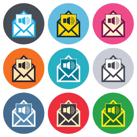 voice mail: Voice mail icon. Speaker symbol. Audio message. Colored round buttons. Flat design circle icons set. Vector Illustration