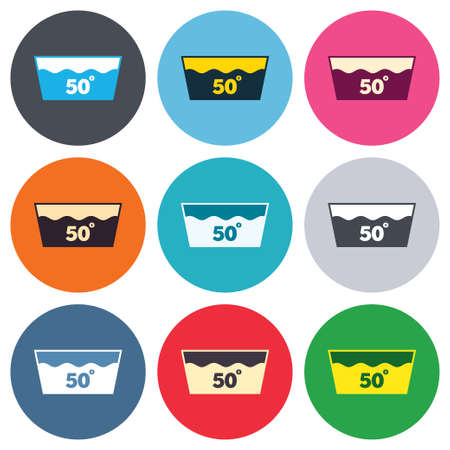 washable: Wash icon. Machine washable at 50 degrees symbol. Colored round buttons. Flat design circle icons set. Vector