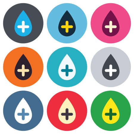 Water drop with plus sign icon. Softens water symbol. Colored round buttons. Flat design circle icons set. Vector Illustration