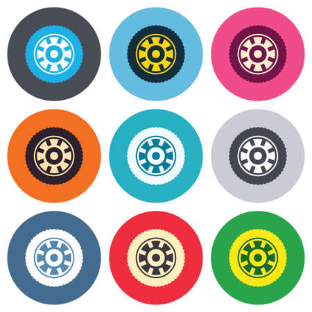 Car wheel sign icon. Circular transport component symbol. Colored round buttons. Flat design circle icons set. Vector Vector