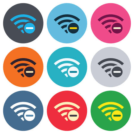 Wifi minus sign. Delete Wifi symbol. Wireless Network icon. Wifi zone. Colored round buttons. Flat design circle icons set. Vector Vector