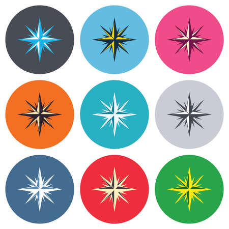 windrose: Compass sign icon. Windrose navigation symbol. Colored round buttons. Flat design circle icons set. Vector