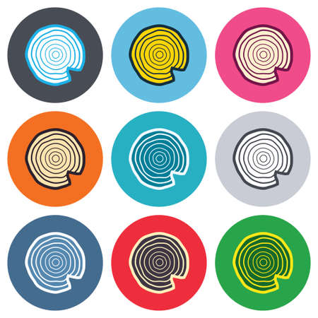 nick: Wood sign icon. Tree growth rings. Tree trunk cross-section with nick. Colored round buttons. Flat design circle icons set. Vector Illustration