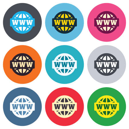 www at sign: WWW sign icon. World wide web symbol. Globe. Colored round buttons. Flat design circle icons set. Vector
