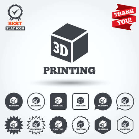 3D Print sign icon. 3d cube Printing symbol. Additive manufacturing. Circle, star, speech bubble and square buttons. Award medal with check mark. Thank you ribbon. Vector Illustration