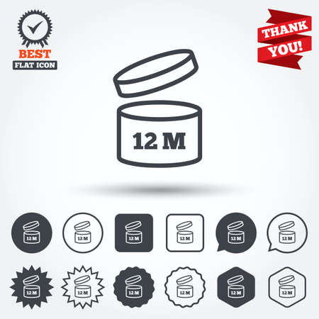 a 12: After opening use 12 months sign icon. Expiration date. Circle, star, speech bubble and square buttons. Award medal with check mark. Thank you ribbon. Vector Illustration