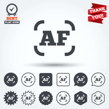 auto focus: Autofocus photo camera sign icon. AF Settings symbol. Circle, star, speech bubble and square buttons. Award medal with check mark. Thank you ribbon. Vector