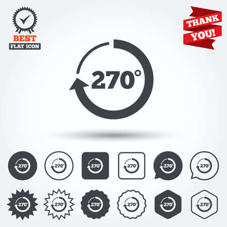 seventy two: Angle 270 degrees sign icon. Geometry math symbol. Circle, star, speech bubble and square buttons. Award medal with check mark. Thank you ribbon. Vector