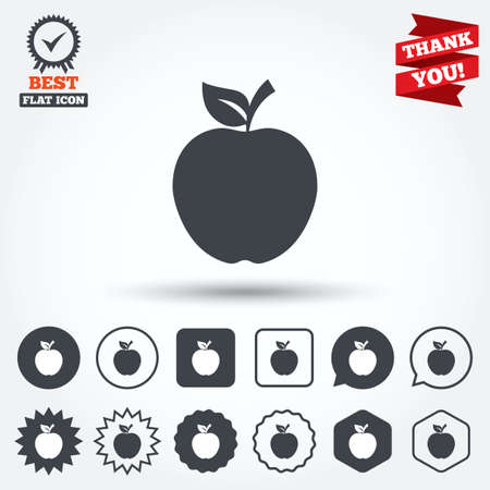 Apple sign icon. Fruit with leaf symbol. Circle, star, speech bubble and square buttons. Award medal with check mark. Thank you ribbon. Vector Vector