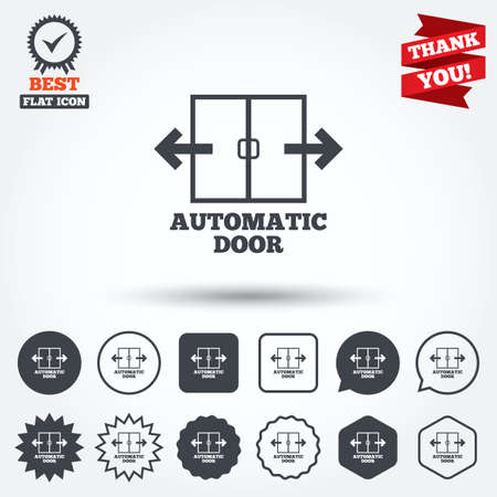 automatic doors: Automatic door sign icon. Auto open symbol. Circle, star, speech bubble and square buttons. Award medal with check mark. Thank you ribbon. Vector
