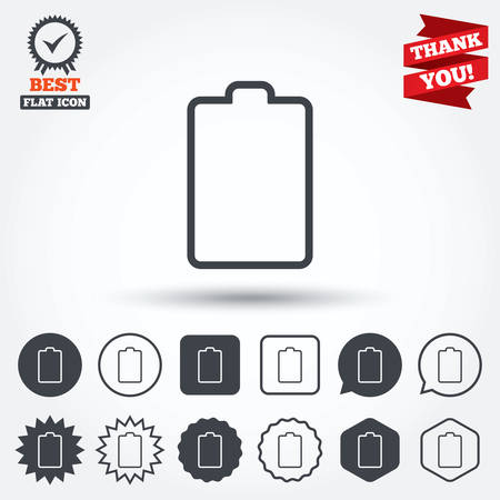Battery Empty Sign Icon Low Electricity Symbol Circle Star