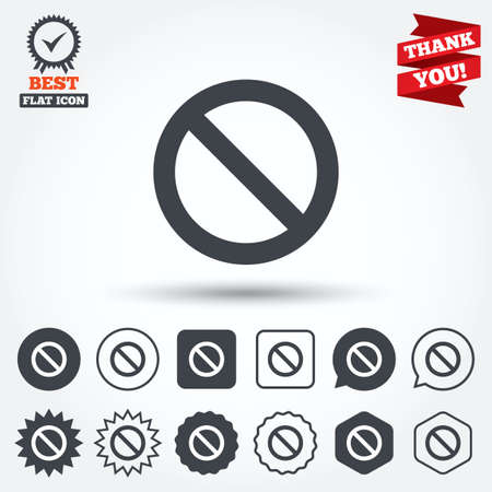 blacklist: Blacklist sign icon. User not allowed symbol. Circle, star, speech bubble and square buttons. Award medal with check mark. Thank you ribbon. Vector Illustration