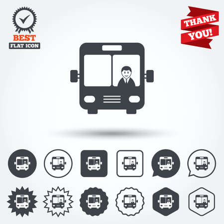 chauffeur: Bus sign icon. Public transport with driver symbol. Circle, star, speech bubble and square buttons. Award medal with check mark. Thank you ribbon. Vector