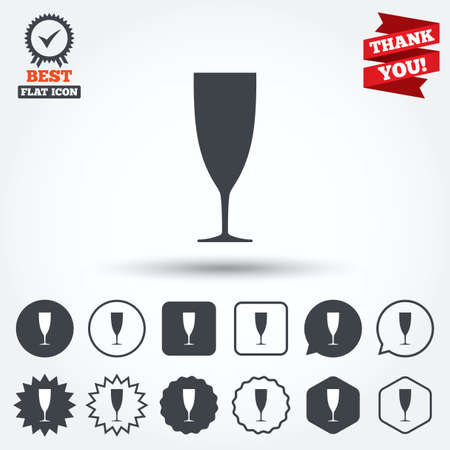 champagne celebration: Glass of champagne sign icon. Sparkling wine. Celebration or banquet alcohol drink symbol. Circle, star, speech bubble and square buttons. Award medal with check mark. Thank you ribbon. Vector