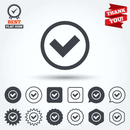 award ribbon: Check mark sign icon. Yes circle symbol. Confirm approved. Circle, star, speech bubble and square buttons. Award medal with check mark. Thank you ribbon. Vector