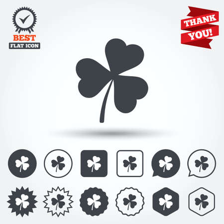 trefoil: Clover with three leaves sign icon. Trifoliate clover. Saint Patrick trefoil symbol. Circle, star, speech bubble and square buttons. Award medal with check mark. Thank you ribbon. Vector