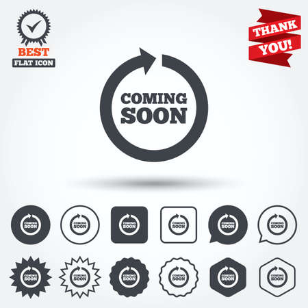 coming soon: Coming soon sign icon. Promotion announcement symbol. Circle, star, speech bubble and square buttons. Award medal with check mark. Thank you ribbon. Vector