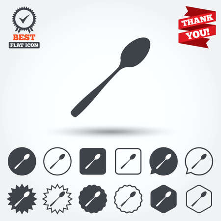 teaspoon: Eat sign icon. Cutlery symbol. Diagonal dessert teaspoon. Circle, star, speech bubble and square buttons. Award medal with check mark. Thank you ribbon. Vector
