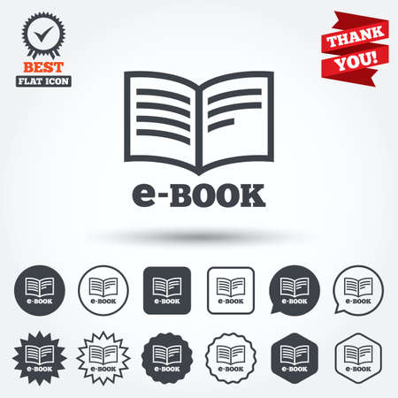 ebook reader: E-Book sign icon. Electronic book symbol. Ebook reader device. Circle, star, speech bubble and square buttons. Award medal with check mark. Thank you ribbon. Vector