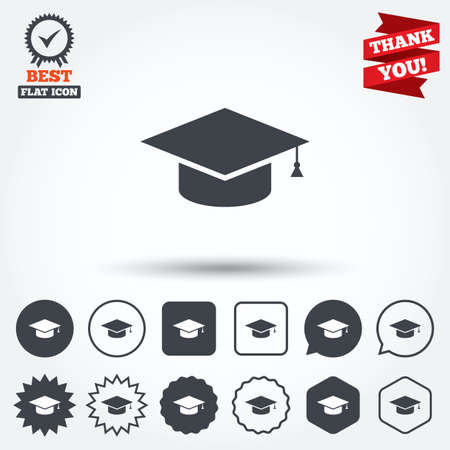 higher education: Graduation cap sign icon. Higher education symbol. Circle, star, speech bubble and square buttons. Award medal with check mark. Thank you ribbon. Vector