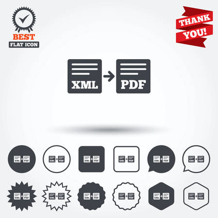 xml: Export XML to PDF icon. File document symbol. Circle, star, speech bubble and square buttons. Award medal with check mark. Thank you ribbon. Vector Illustration