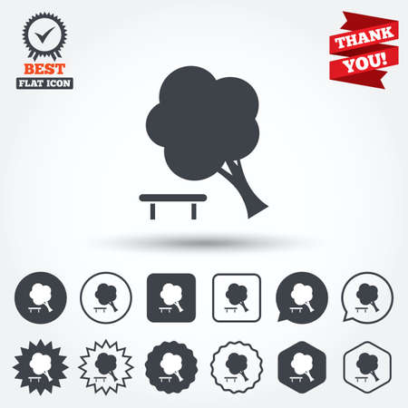 break down: Falling tree sign icon. Caution break down tree symbol. Circle, star, speech bubble and square buttons. Award medal with check mark. Thank you ribbon. Vector
