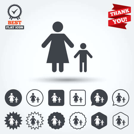 one child: One-parent family with one child sign icon. Mother with son symbol. Circle, star, speech bubble and square buttons. Award medal with check mark. Thank you ribbon. Vector