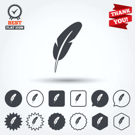 mark pen: Feather sign icon. Retro pen symbol. Light weight symbol. Circle, star, speech bubble and square buttons. Award medal with check mark. Thank you ribbon. Vector