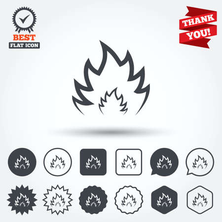 fire circle: Fire flame sign icon. Heat symbol. Stop fire. Escape from fire. Circle, star, speech bubble and square buttons. Award medal with check mark. Thank you ribbon. Vector