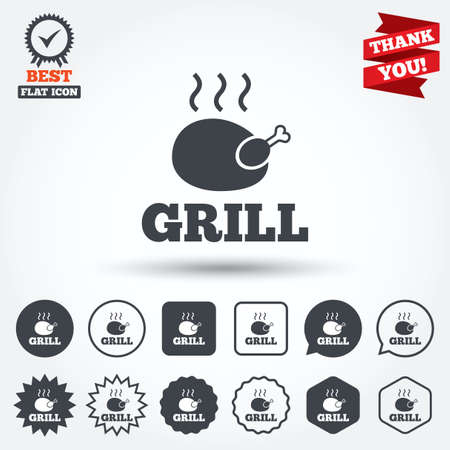 chicken grill: Roast chicken grill sign icon. Hen bird meat symbol. Circle, star, speech bubble and square buttons. Award medal with check mark. Thank you ribbon. Vector