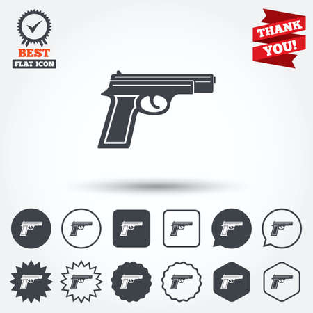 firearms: Gun sign icon. Firearms weapon symbol. Circle, star, speech bubble and square buttons. Award medal with check mark. Thank you ribbon. Vector Illustration