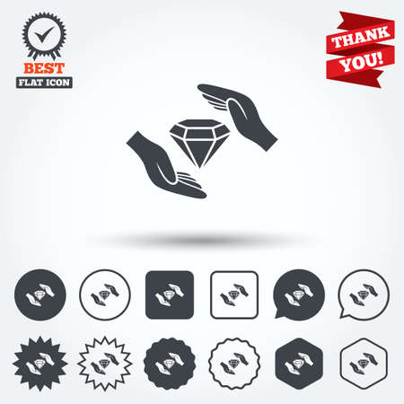 brilliants: Jewelry insurance sign icon. Hands protect cover diamonds symbol. Brilliants insurance. Circle, star, speech bubble and square buttons. Award medal with check mark. Thank you ribbon. Vector