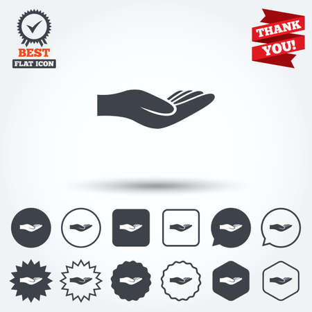 endowment: Donation hand sign icon. Charity or endowment symbol. Human helping hand palm. Circle, star, speech bubble and square buttons. Award medal with check mark. Thank you ribbon. Vector