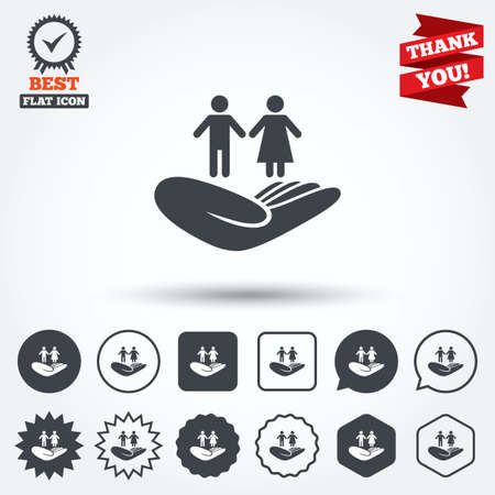 star of life: Couple life insurance sign. Hand holds human group symbol. Health insurance. Circle, star, speech bubble and square buttons. Award medal with check mark. Thank you ribbon. Vector