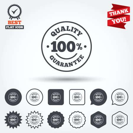 100% garanzia di qualità sign icon. Simbolo Premium qualità. Cerchio, stella, fumetto e pulsanti quadrati. Medaglia Premio con segno di spunta. Grazie nastro. Vettore