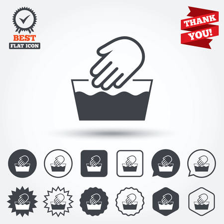 washable: Hand wash sign icon. Not machine washable symbol. Circle, star, speech bubble and square buttons. Award medal with check mark. Thank you ribbon. Vector