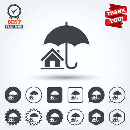 belay: Home insurance sign icon. Real estate insurance symbol. Circle, star, speech bubble and square buttons. Award medal with check mark. Thank you ribbon. Vector