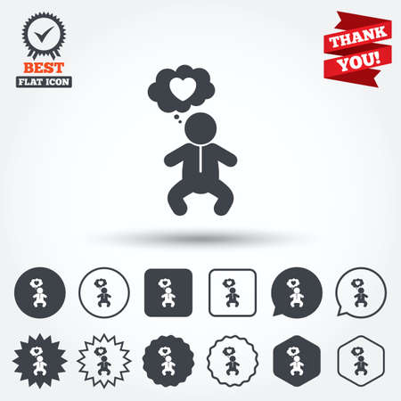 crawlers: Baby infant think about love sign icon. Toddler boy in pajamas or crawlers body symbol. Circle, star, speech bubble and square buttons. Award medal with check mark. Thank you ribbon. Vector
