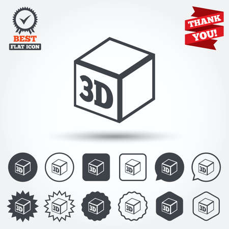 additive manufacturing: 3D Print sign icon. 3d cube Printing symbol. Additive manufacturing. Circle, star, speech bubble and square buttons. Award medal with check mark. Thank you ribbon. Vector Illustration